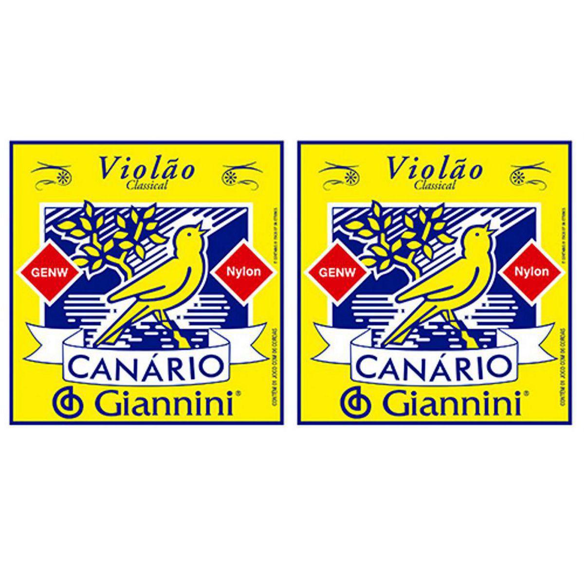 Encordoamento Giannini Canário Violão NYLON - Cordas de NYLON para Violão - GENW - 02 Jogos