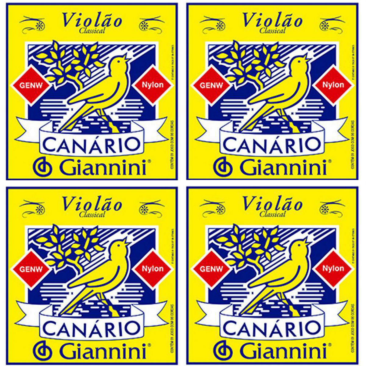 Encordoamento Giannini Canário Violão NYLON - Cordas de NYLON para Violão - GENW - 04 Jogos