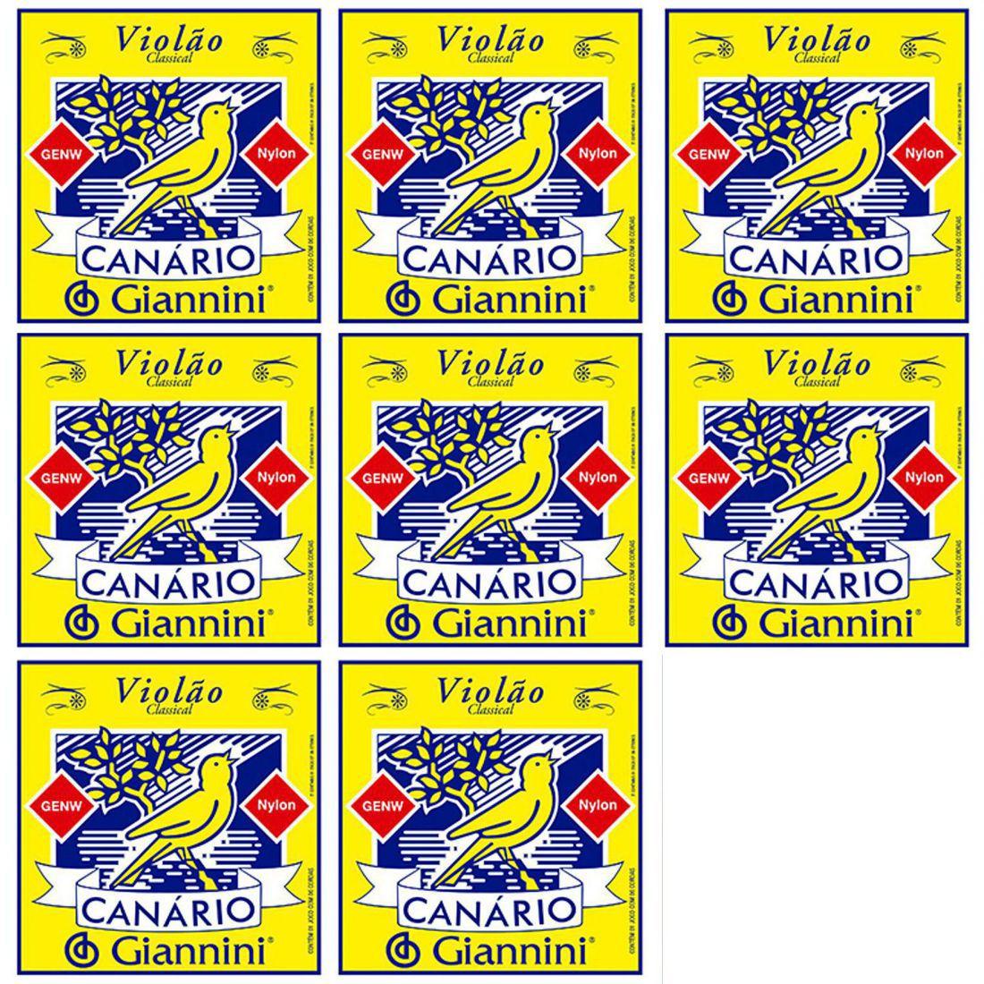 Encordoamento Giannini Canário Violão NYLON - Cordas de NYLON para Violão - GENW - 08 Jogos