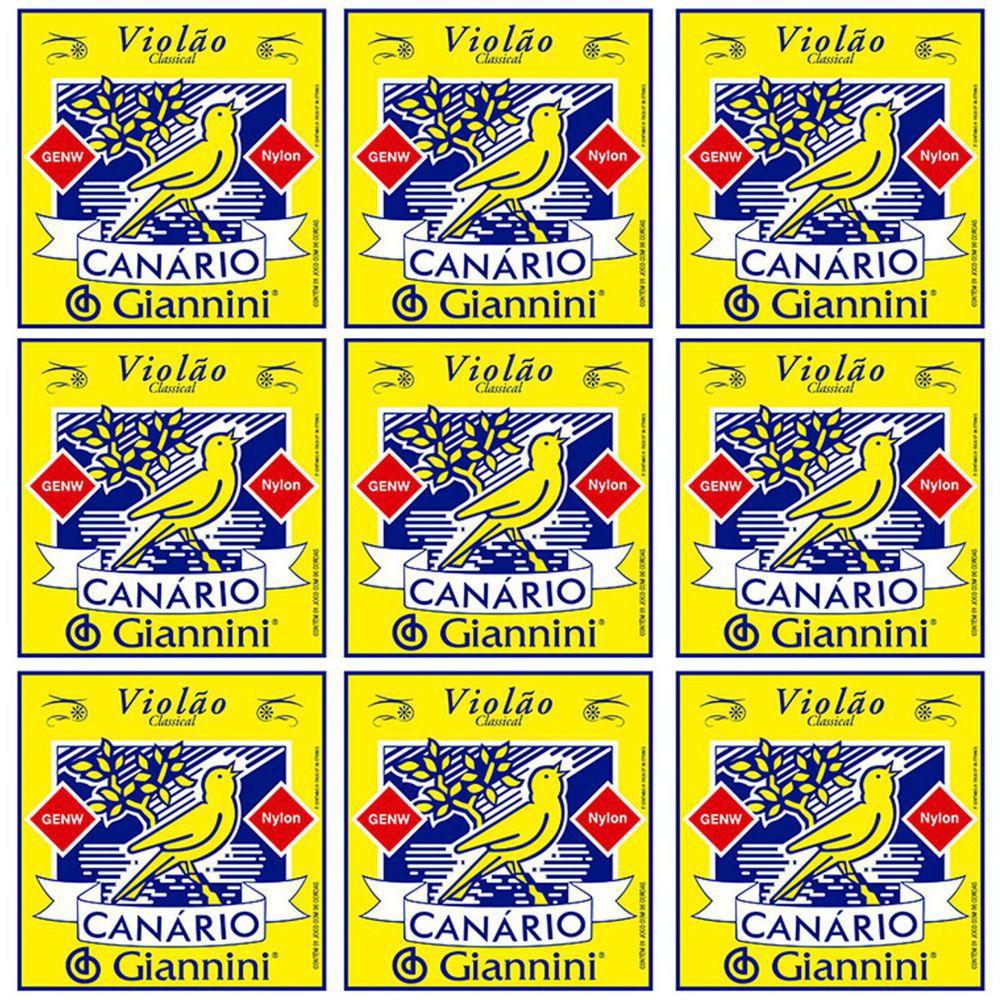 Encordoamento Giannini Canário Violão NYLON - Cordas de NYLON para Violão - GENW - 09 Jogos