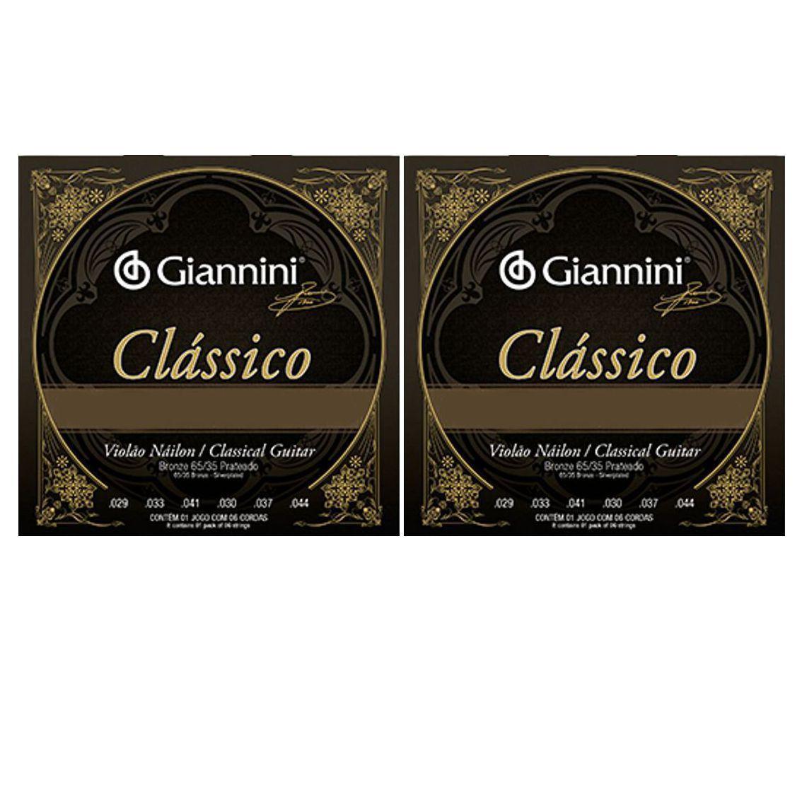 Encordoamento Giannini Classico NYLON - Cordas de NYLON para Violão - 02 Jogos