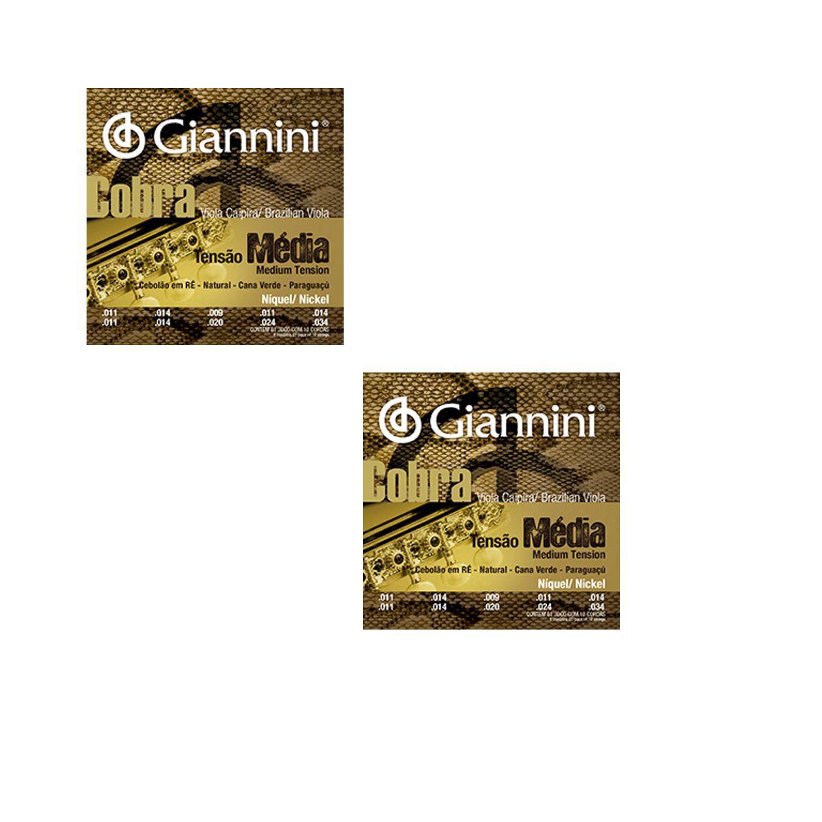 Encordoamento Giannini Cobra Viola Caipira Cebolão RÉ - Cordas Níquel Viola Caipira - GESVNM Nickel - 02 Jogos
