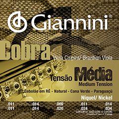 Encordoamento Giannini Cobra Viola Caipira Cebolão RÉ - Cordas Níquel Viola Caipira - GESVNM Nickel