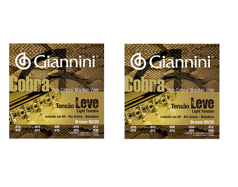 Encordoamento Giannini Cobra Viola Caipira - Cordas Bronze 80/20 Viola Caipira - CV82L - 02 Jogos
