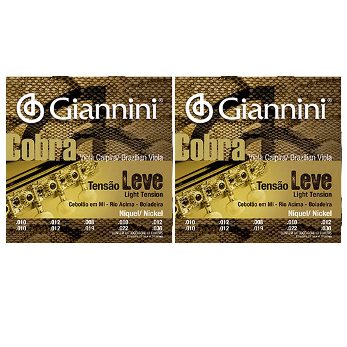 Encordoamento Giannini Cobra Viola Caipira - Cordas Níquel Viola Caipira - GESVNL Nickel - 02 Jogos