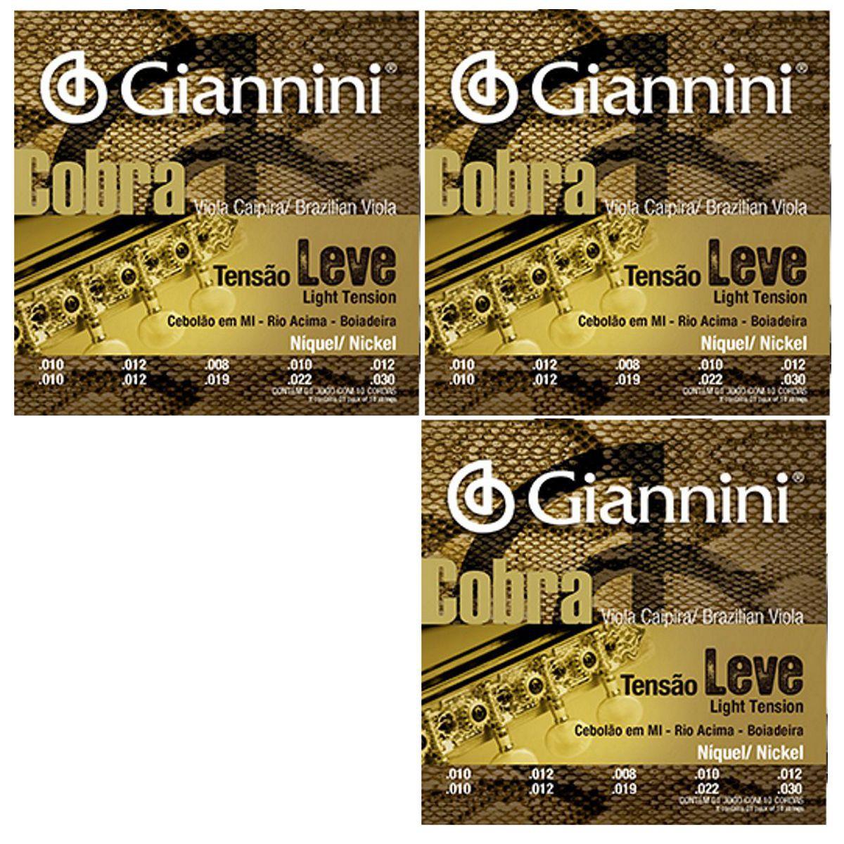 Encordoamento Giannini Cobra Viola Caipira - Cordas Níquel Viola Caipira - GESVNL Nickel - 03 Jogos