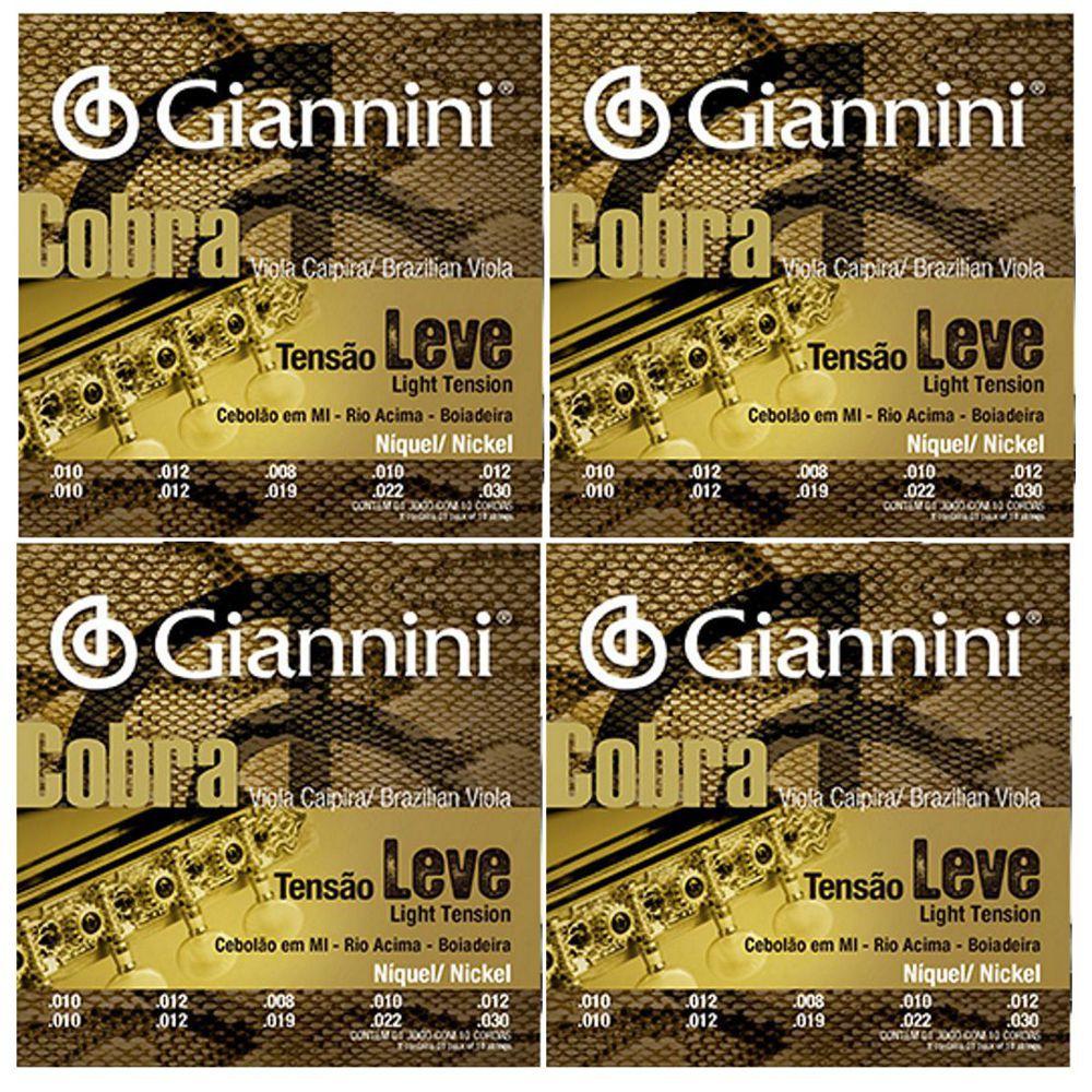 Encordoamento Giannini Cobra Viola Caipira - Cordas Níquel Viola Caipira - GESVNL Nickel - 04 Jogos