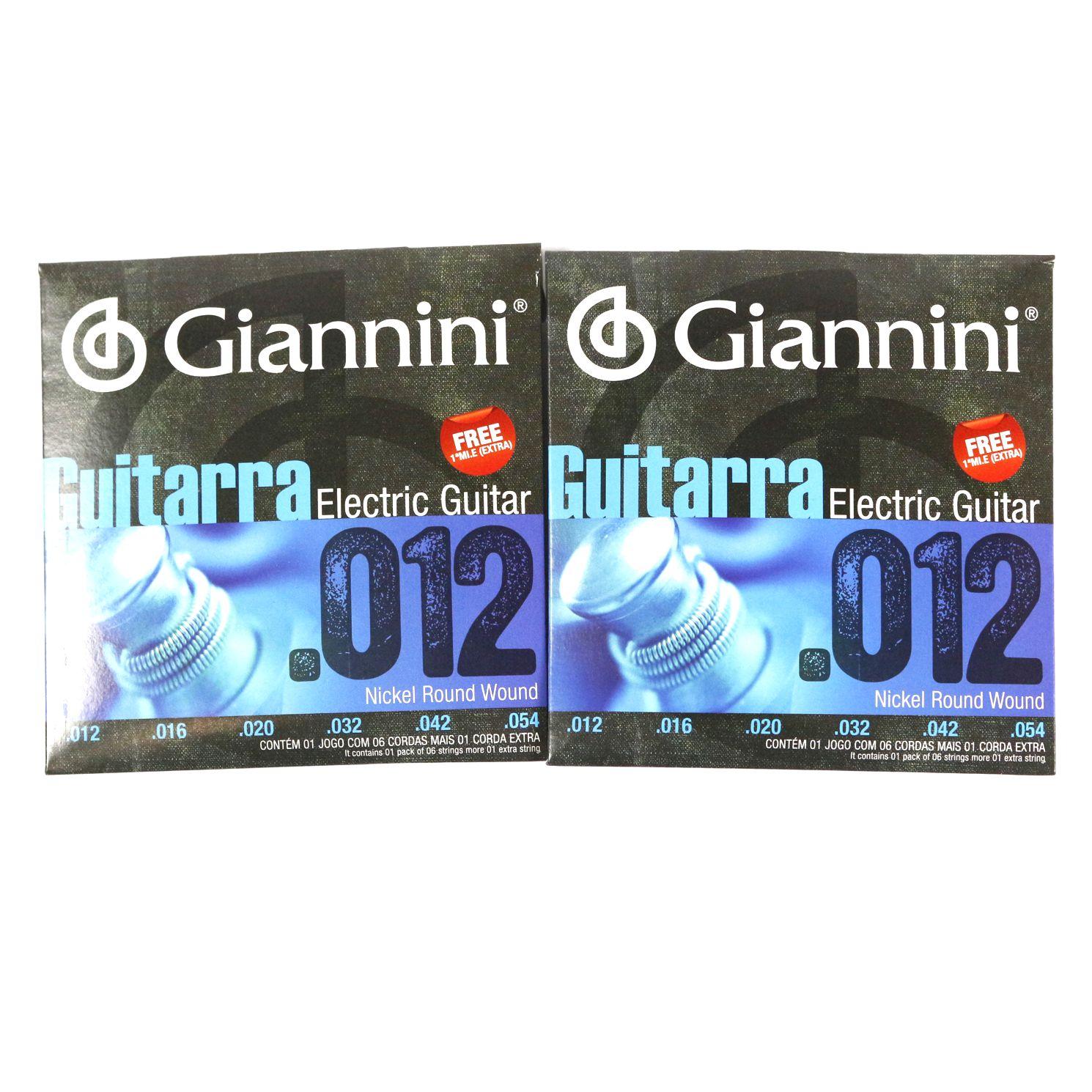 Encordoamento Giannini Guitarra Nickel Round Wound + MÍ EXTRA .012 GEEGST12 - 02 KITS