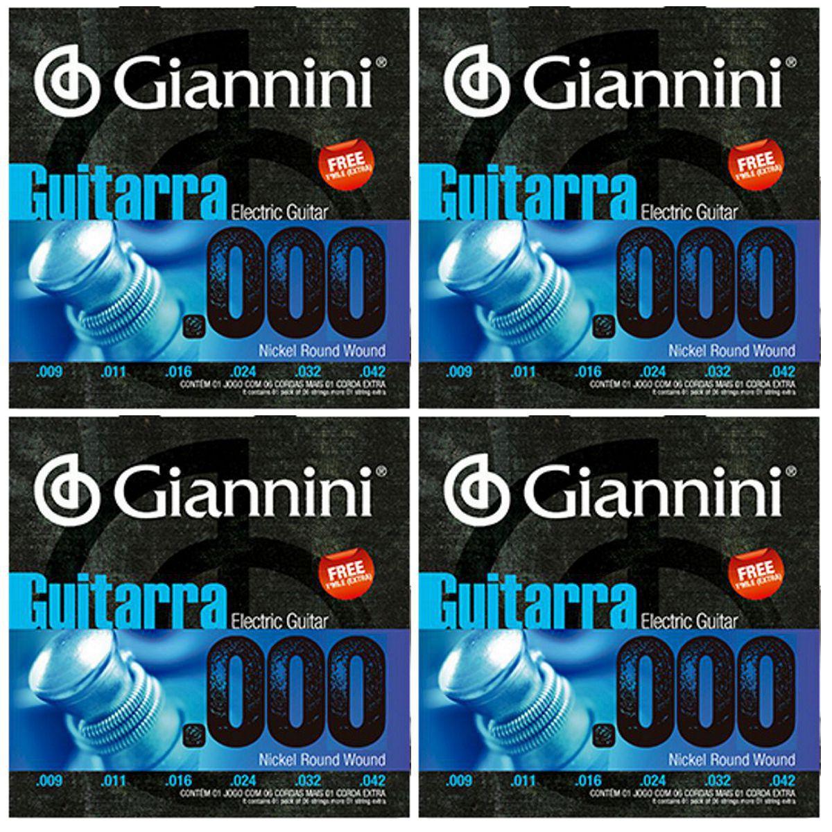 Encordoamento Giannini Guitarra Nickel Round Wound + MÍ EXTRA - 4 Jogos
