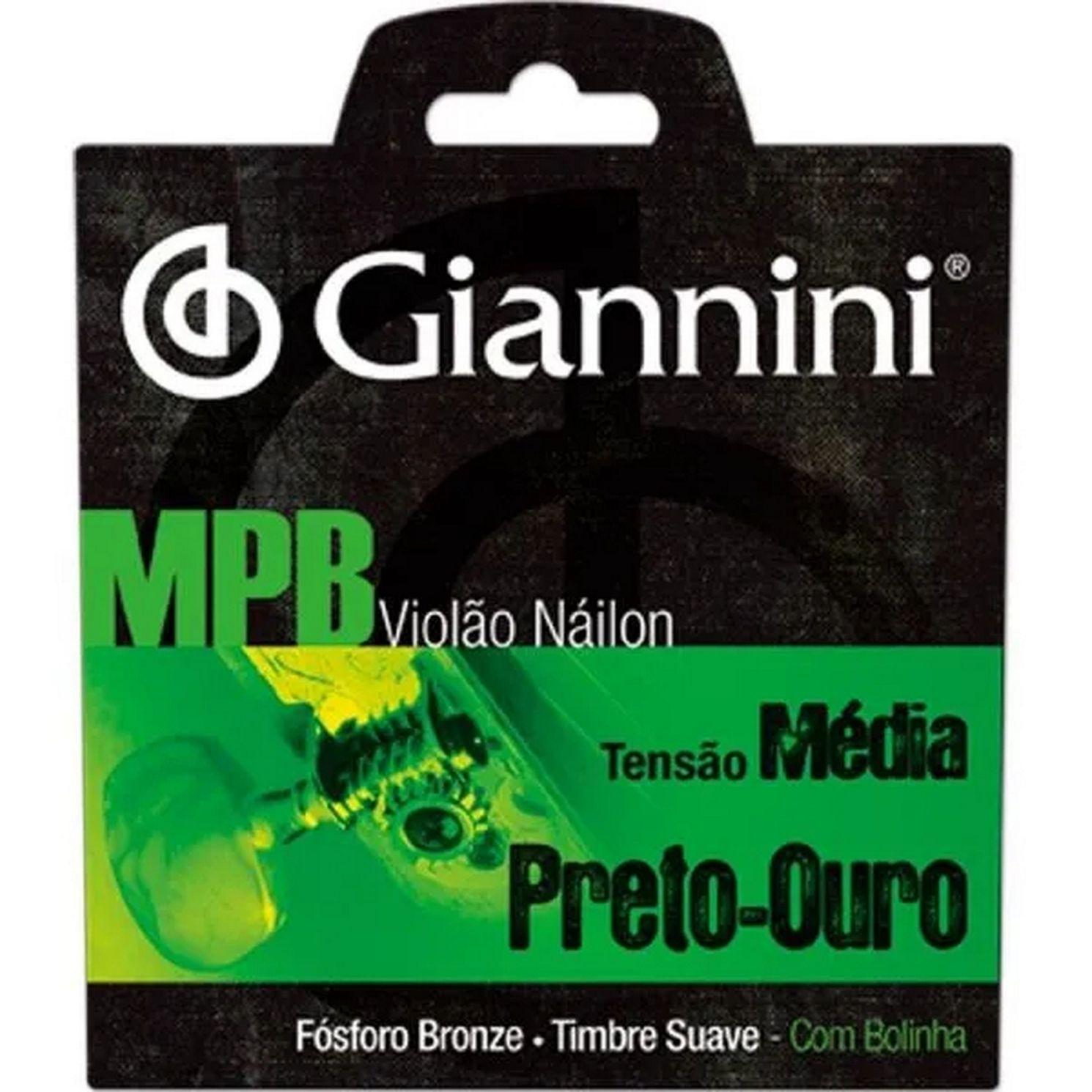 Encordoamento Giannini MPB Fósforo Bronze Violão NYLON Tensão Média Preto Ouro GENWBG