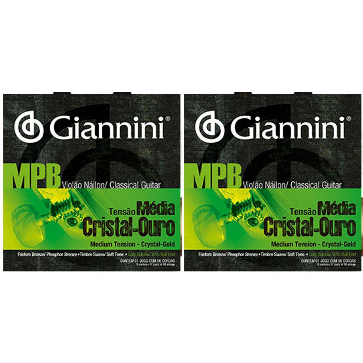 Encordoamento Giannini MPB Violão NYLON - Cordas de NYLON Cistal Ouro para Violão - GENWG - 02 Jogos
