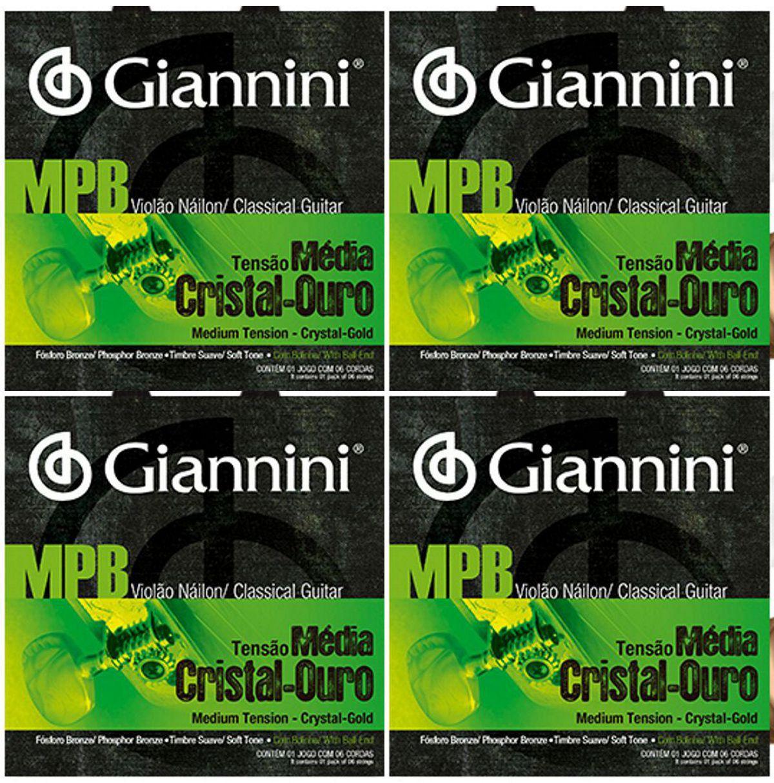Encordoamento Giannini MPB Violão NYLON - Cordas de NYLON Cistal Ouro para Violão - GENWG - 04 Jogos