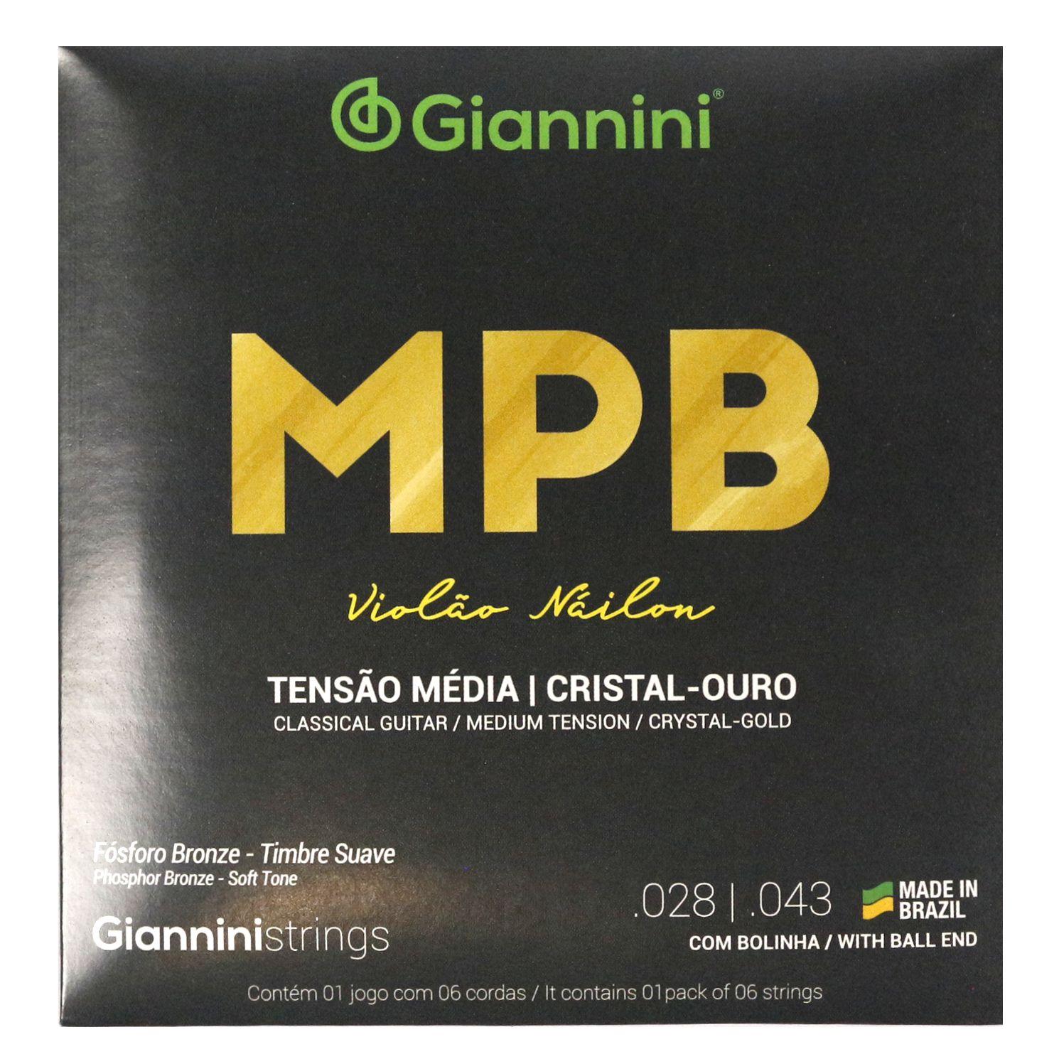 Encordoamento Giannini MPB Violão NYLON - Cordas de NYLON Cistal Ouro para Violão - GENWG