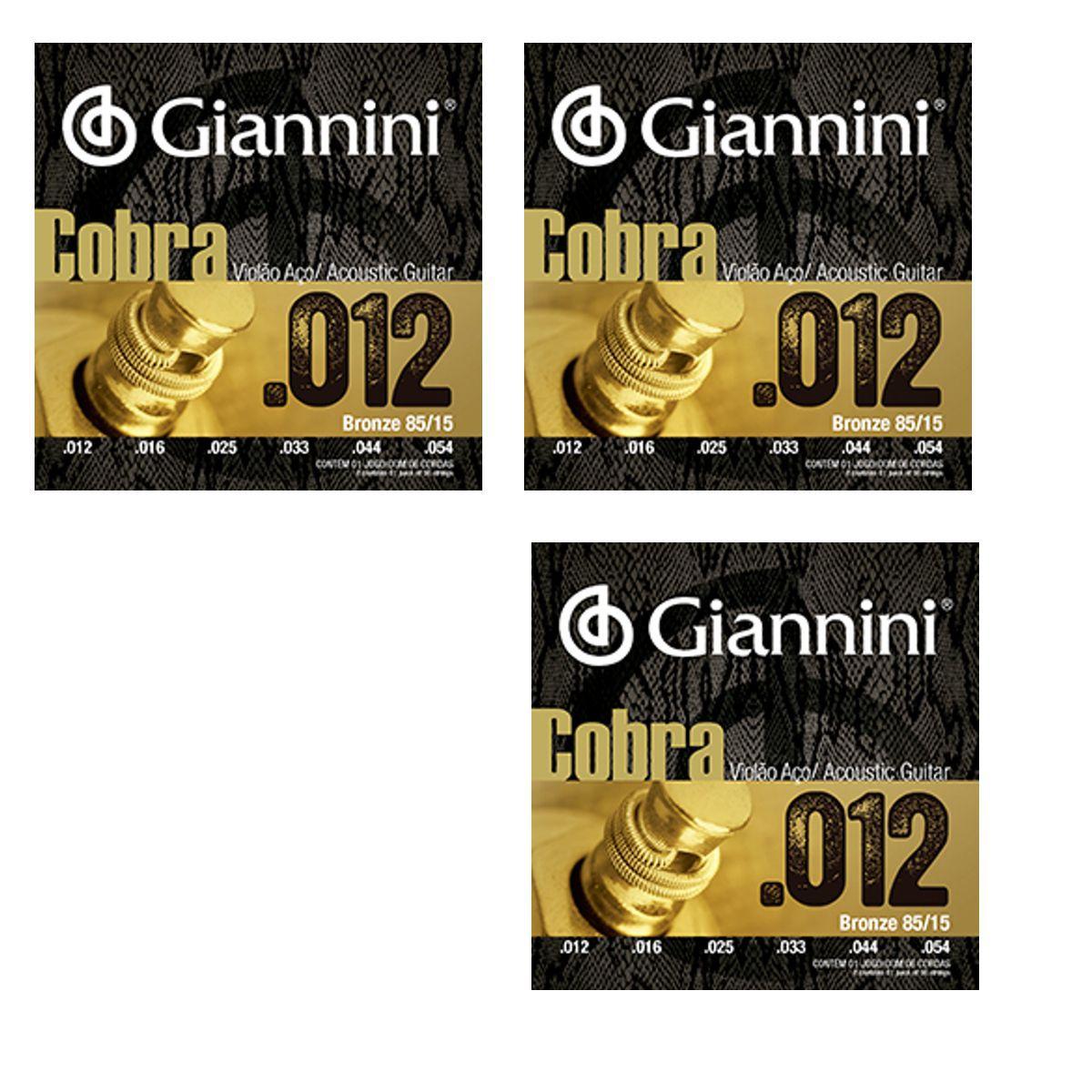 Encordoamento Giannini Violão AÇO Bonze 85/15 Série Cobra .012 GEEFLKS012 - 03 Unidades