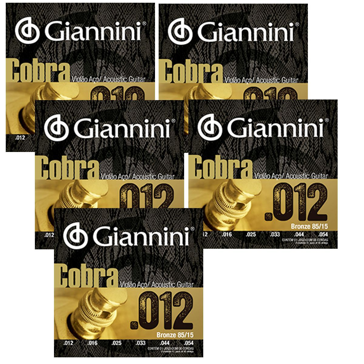 Encordoamento Giannini Violão AÇO Bonze 85/15 Série Cobra .012 GEEFLKS012 - 05 Unidades