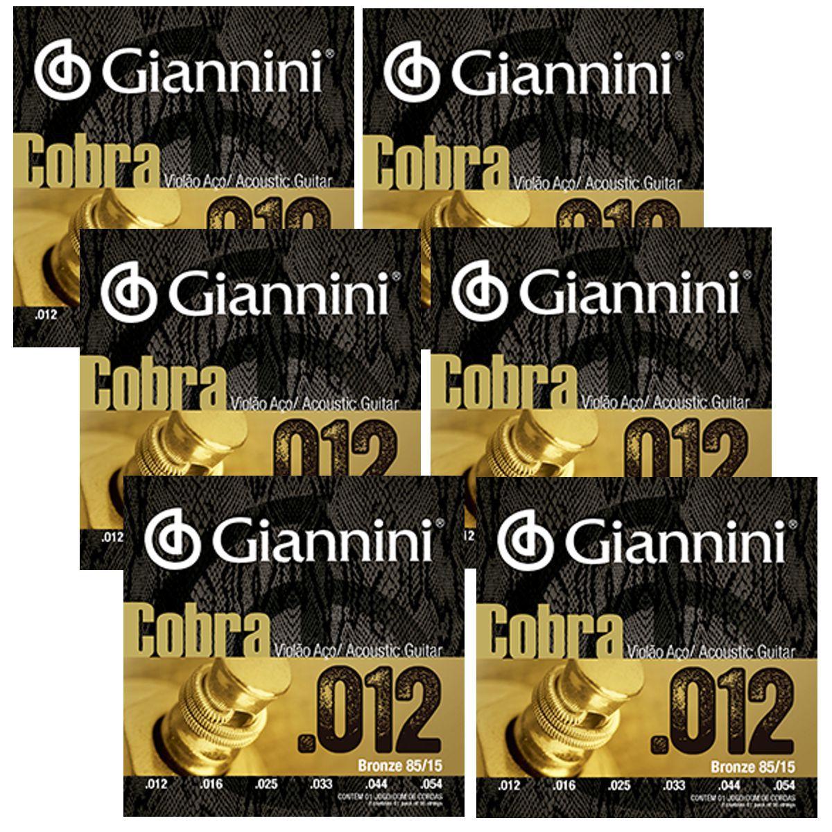 Encordoamento Giannini Violão AÇO Bonze 85/15 Série Cobra .012 GEEFLKS012 - 06 Unidades
