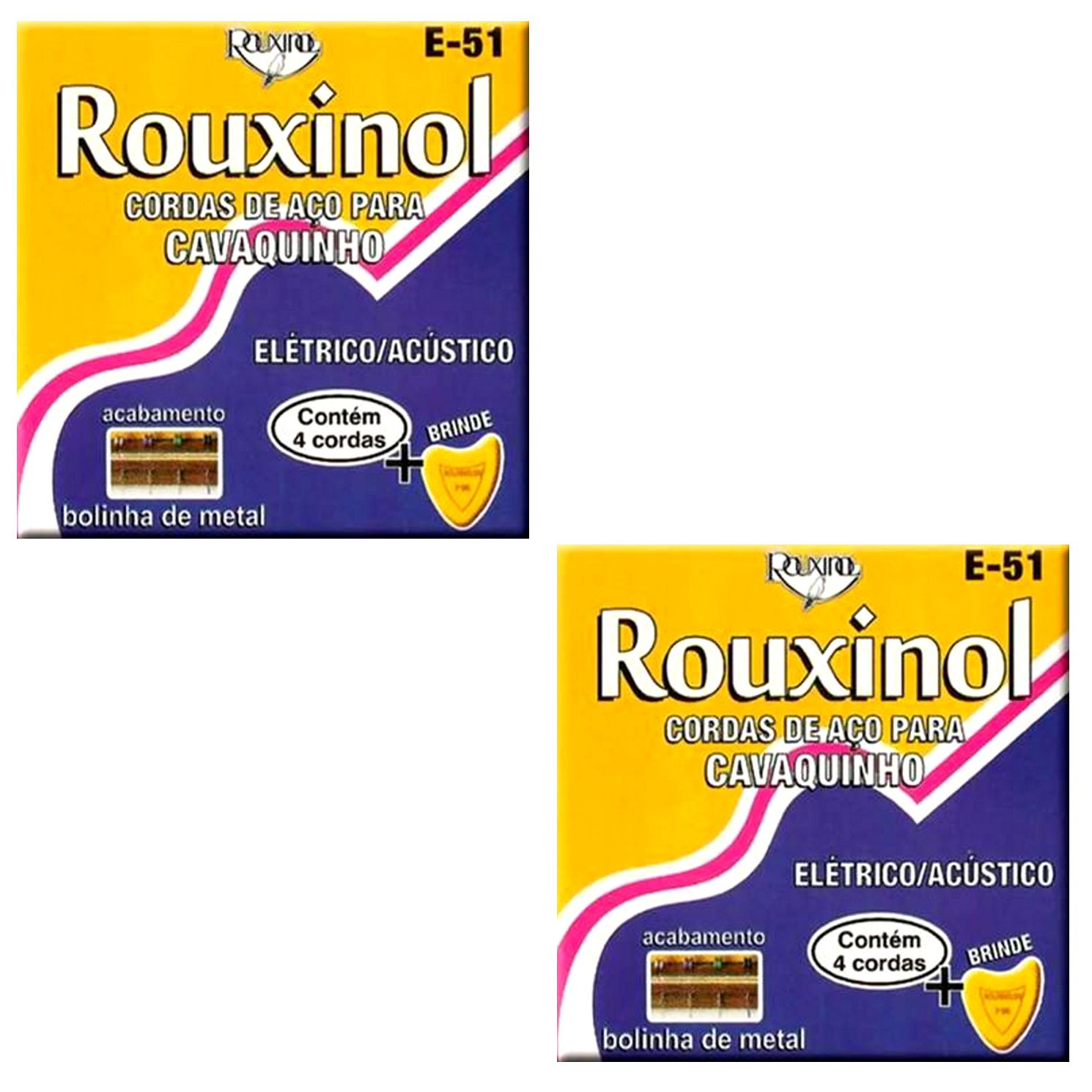 Encordoamento para Cavaquinho AÇO Rouxinol E-51 com Palheta - 02 Jogos