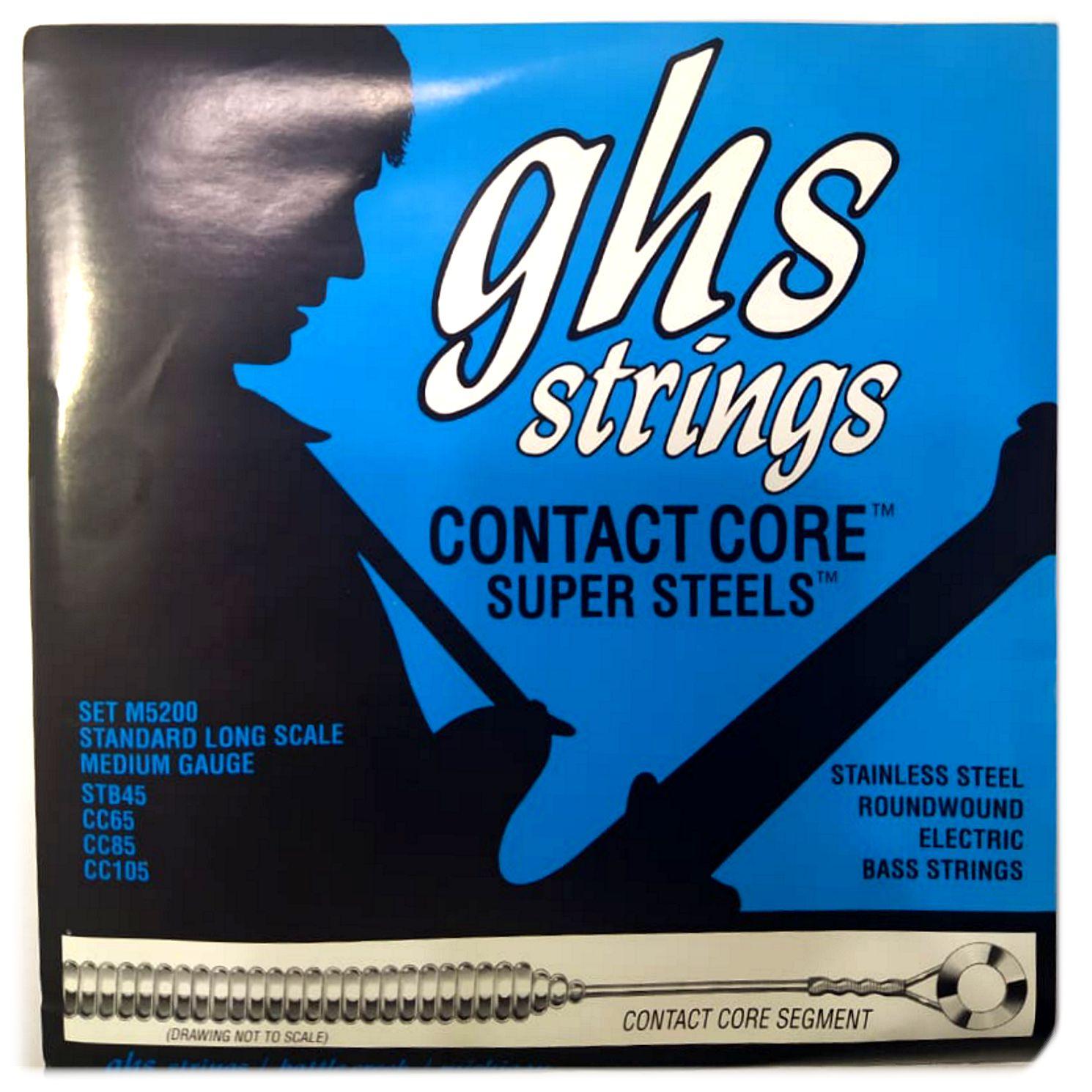 Encordoamento para Contra Baixo 4 Cordas GHS Contact Core Super Steels .045 - M5200