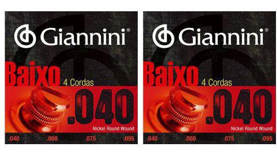 Encordoamento para Contra Baixo Giannini 4 Cordas .040 Nickel Round Wound - Geebrl - Pacote com 2 Encordoamentos