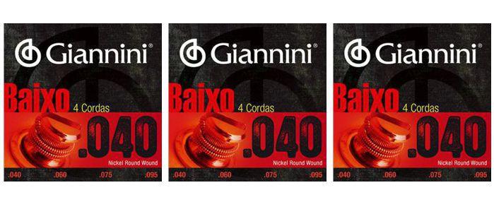 Encordoamento para Contra Baixo Giannini 4 Cordas .040 Nickel Round Wound - Geebrl - Pacote com 3 Encordoamentos