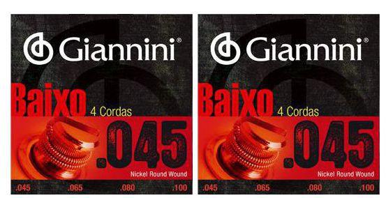 Encordoamento para Contra Baixo Giannini 4 Cordas .045 Nickel Round Wound - Geebrs - Pacote com 2 Encordoamentos