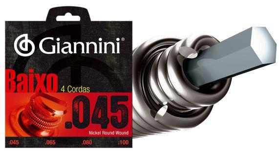 Encordoamento para Contra Baixo Giannini 4 Cordas .045 Nickel Round Wound - Geebrs - Pacote com 3 Encordoamentos