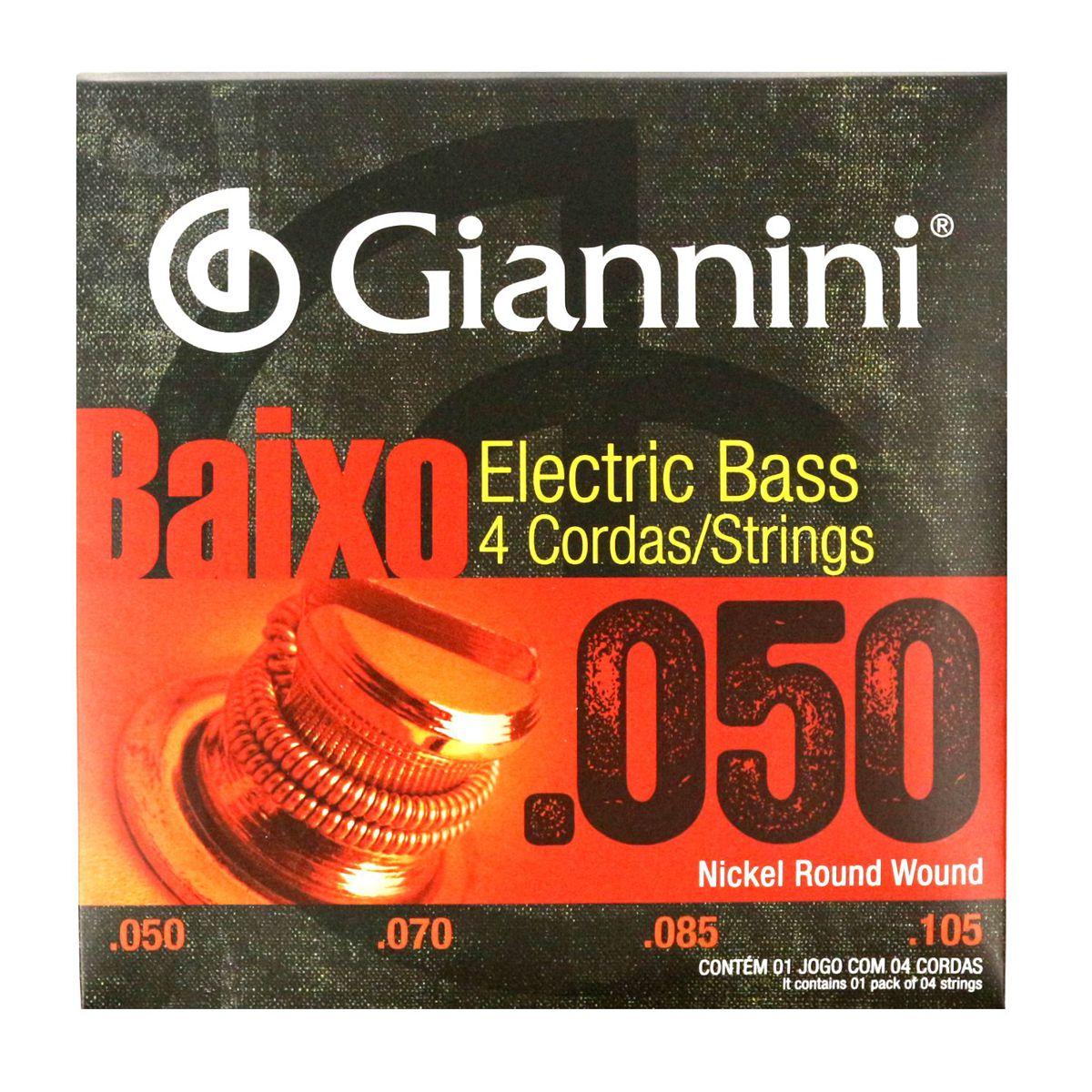 Encordoamento para Contra Baixo Giannini 4 Cordas .050 Nickel Round Wound - Geebsx