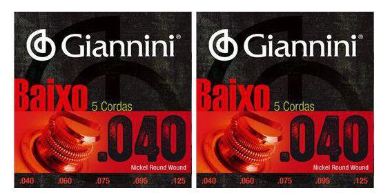 Encordoamento para Contra Baixo Giannini 5 Cordas .040 Nickel Round Wound - GEEBRL5 - Pacote com 2 Encordoamentos