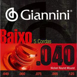 Encordoamento para Contra Baixo Giannini 5 Cordas .040 Nickel Round Wound - GEEBRL5 - Pacote com 3 Encordoamentos