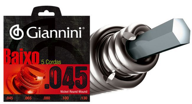 Encordoamento para Contra Baixo Giannini 5 Cordas .045 Nickel Round Wound - GEEBRS5 - Pacote com 2 Encordoamentos