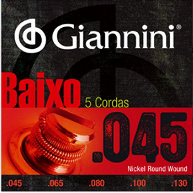 Encordoamento para Contra Baixo Giannini 5 Cordas .045 Nickel Round Wound - GEEBRS5 - Pacote com 3 Encordoamentos