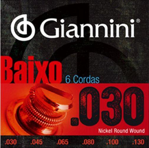 Encordoamento para Contra Baixo Giannini 6 Cordas .030 Nickel Round Wound - GEEBRL6