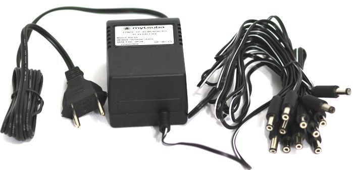 Fonte para 12 Pedais com 12 PLUGS 9VDC 300MA Plugue Interno Negativo - ADP-910/12