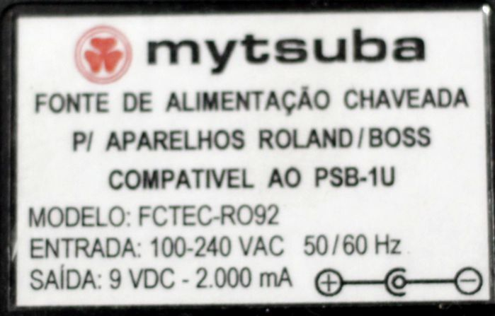 Fonte para BOSS e Roland 9VDC 2000MA - Mytsuba - Compativel com AO PSB-1U - FCTEC-RO92