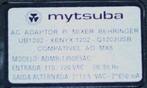 Fonte para Mesa de Som da Behringer UB 1202 - XENYX 1202 - Q1202USB -  Mytsuba - ADMB-175065AC