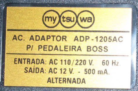 Fonte para Pedaleira BOSS 12VAC 500MA - Mytsuba - Compativel com AO BRA-120 e BRA-230 - ADP-1205AC