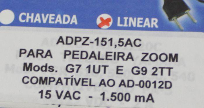 Fonte para Pedaleira Zoom G7 1UT e G9 2TT 15 VAC 1.500 MA Compatível AO AD-0012D - ADPZ-1515AC