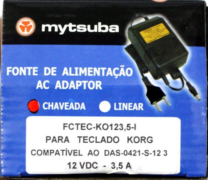 Fonte para Teclado KORG Compativel AO DAS-0421-S12 3 - 12VDC 3,5 a - FCTEC-KO123,5-I