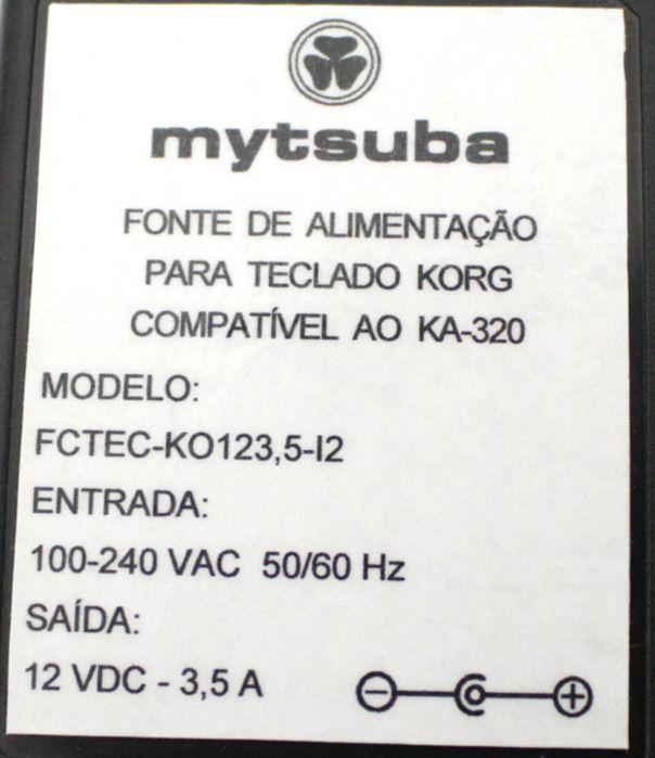 Fonte para Teclado KORG Compatível AO KA-320 - 12VDC 3,5 a - FCTEC-KO123,5I2