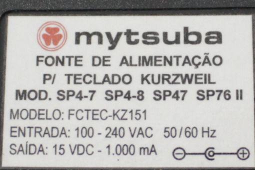 Fonte para Teclado Piano Kurzweil SP4-7 SP4-8 SP47 SP76II da Marca Mytsuba 15VDC 1A - FCTEC-KZ151
