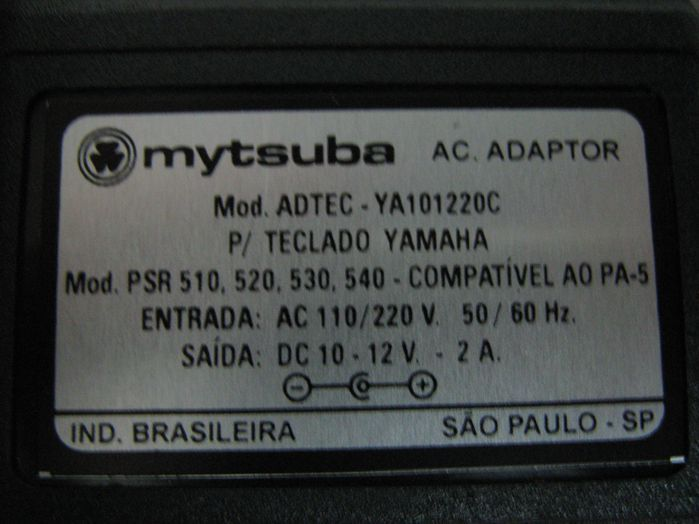 Fonte para Teclado Yamaha - 12VDC 2 a - Compatível com a PA-5 - ADTEC-YA101220C