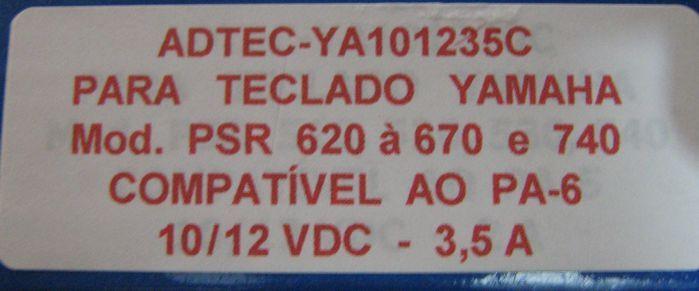 Fonte para Teclado Yamaha - 12VDC 3,5 a - Compatível com a PA-6 - ADTEC-YA101235C