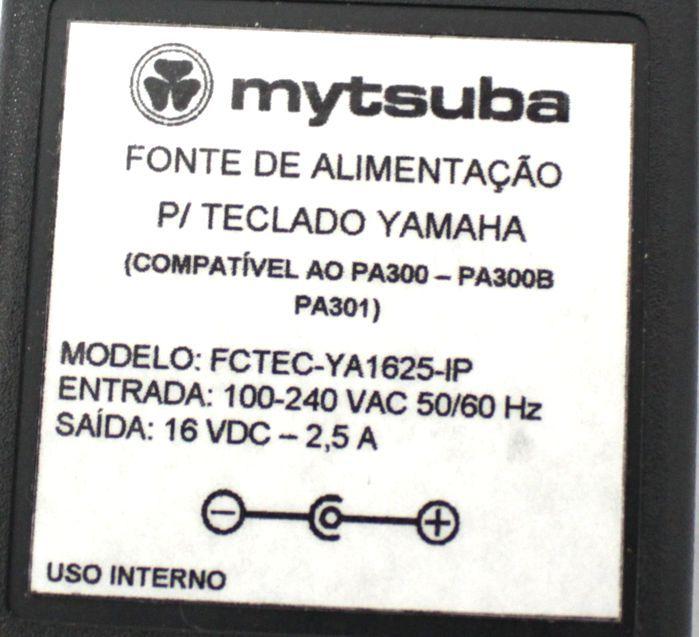 Fonte para Teclado Yamaha - 16 VDC - 2,5A - Compatível PA300 - IP - FCTEC- YA1625-IP
