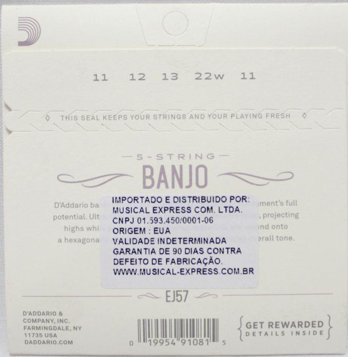 Jogo de Cordas para Banjo 5 Cordas - Encordoamento Daddario EJ57