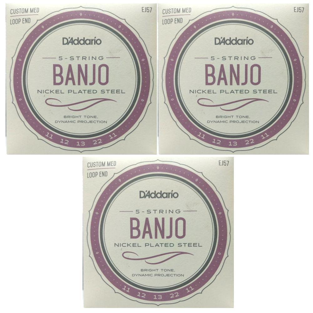 Jogo de Cordas para Banjo 5 Cordas - Encordoamento Daddario EJ57 - 03 Jogos