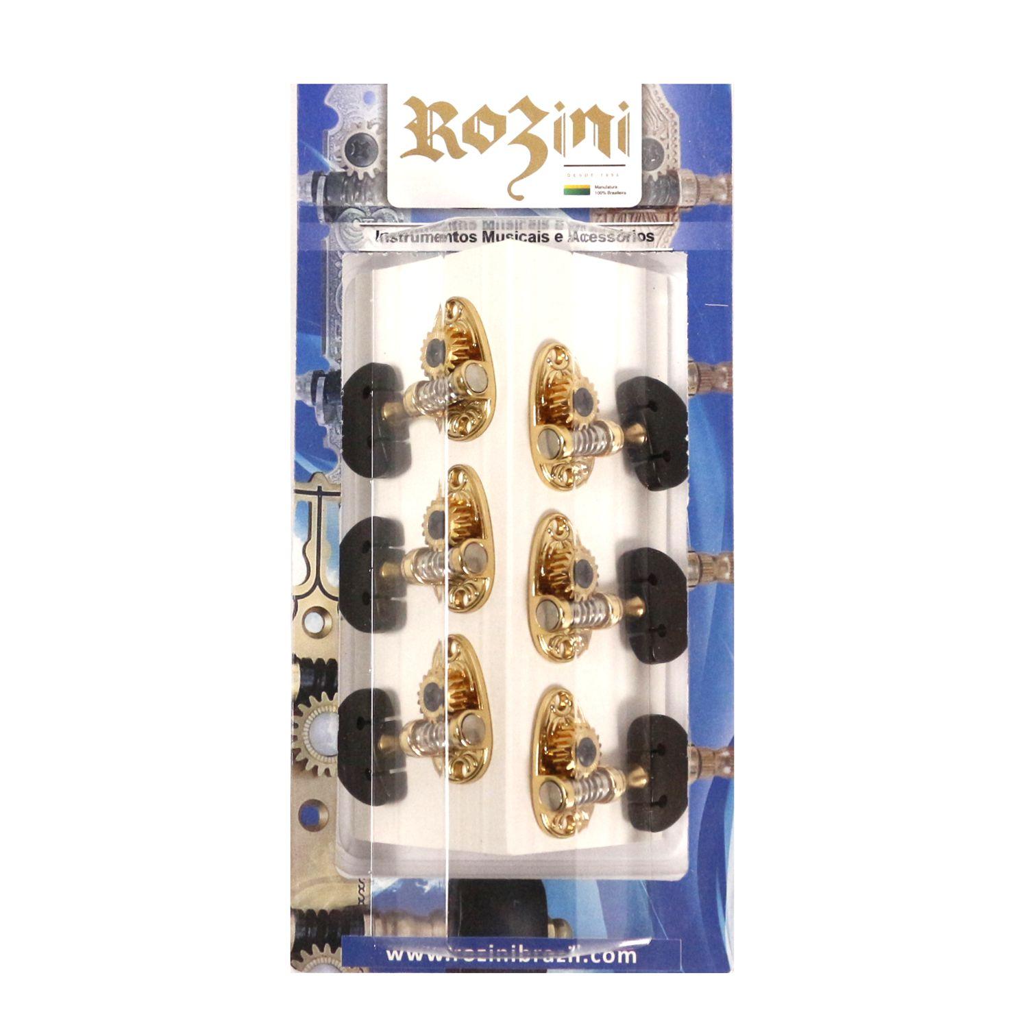Jogo de Tarraxa Individual de Violão NYLON Dourada Botão Escuro - Rozini RAX526GPR.E6