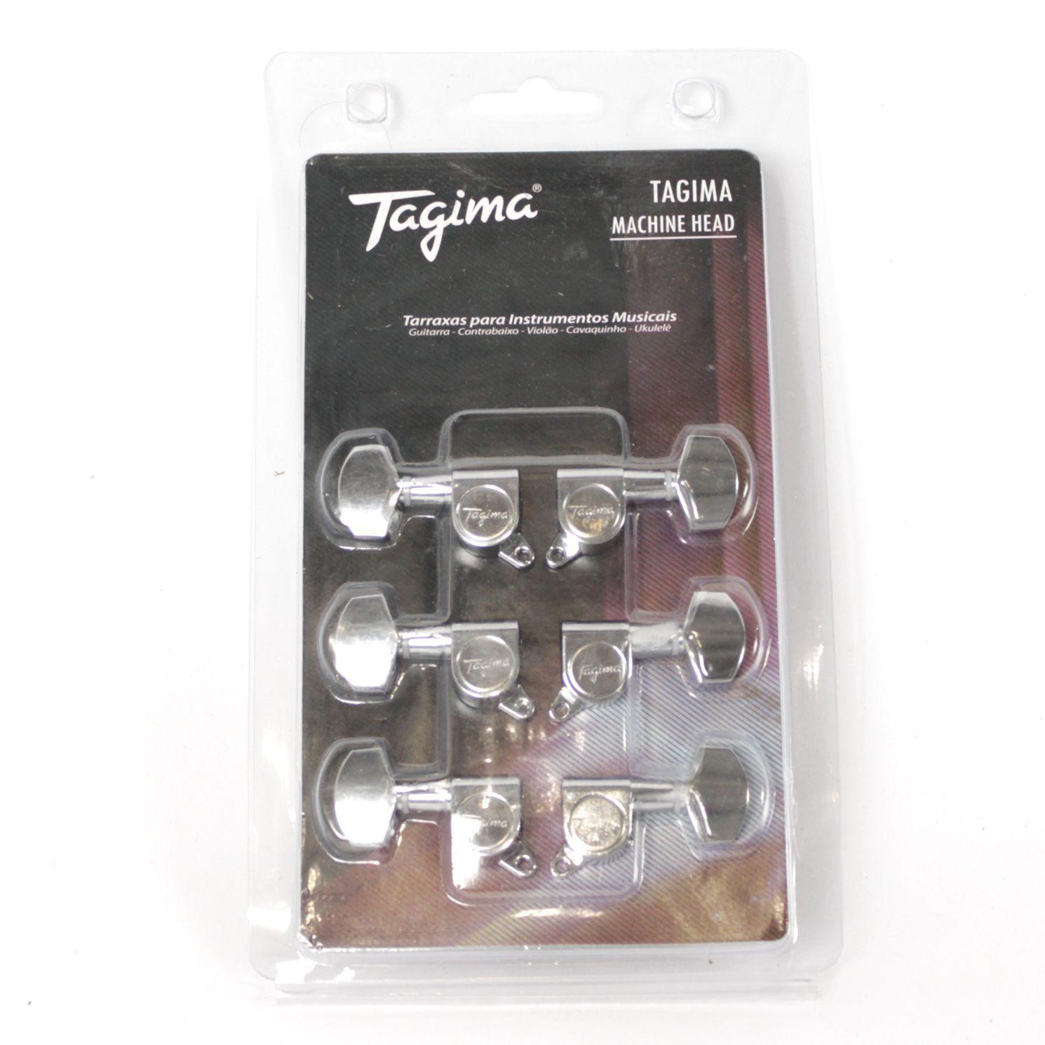 Jogo de Tarraxas Blindadas Pino FOLK 3 + 3 para Violão e Guitarra - Tagima - TMH 801