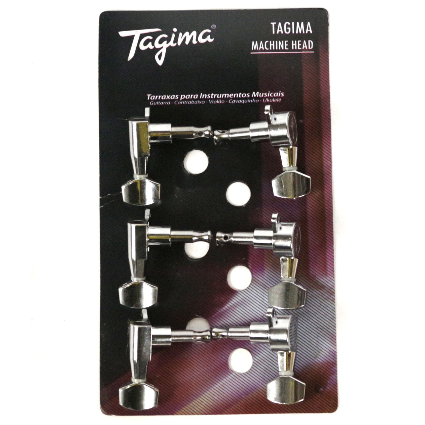 Jogo de Tarraxas Blindadas Tagima TMH 807 Cromada 6 em Linha para Guitarra