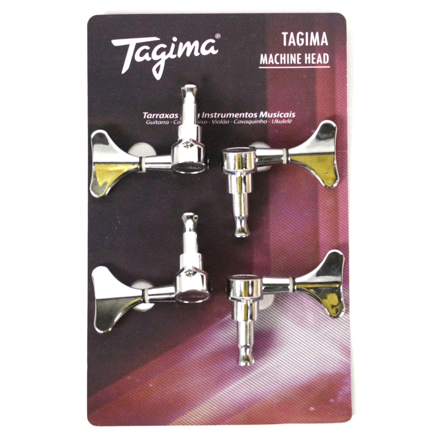Jogo de Tarraxas Blindadas Tagima TMH 823 Cromado para Contra Baixo 4 Cordas em Linha
