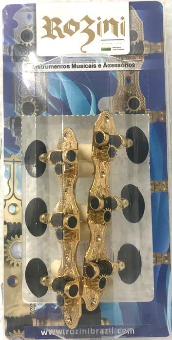 Jogo de Tarraxas Luxo Dourada Pino Grosso para Violão 6 Cordas NYLON - Rozini - RA405GKPG-A2B